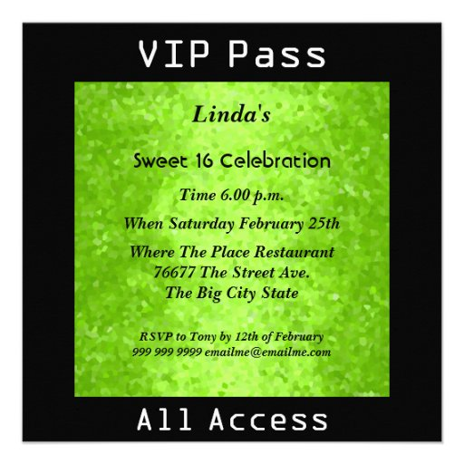 VIP pass Sweet 16 Birthday Party Lime 2 Announcement
