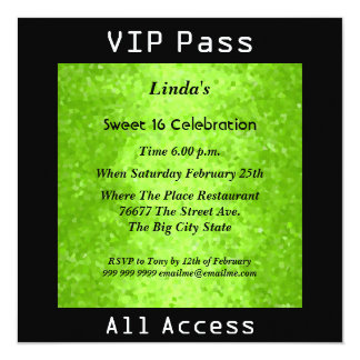 "VIP pass Sweet 16 Birthday Party Lime 2 5.25"" Square Invitation Card"