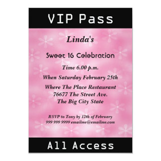 VIP pass Sweet 16 Birthday Party Pink Personalized Invitations