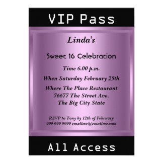 VIP pass Sweet 16 Birthday Party Purple Personalized Invitation