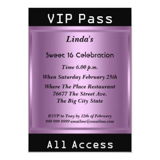 VIP pass Sweet 16 Birthday Party Purple 5x7 Paper Invitation Card