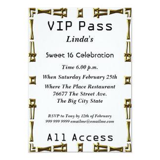 VIP pass Sweet 16 Birthday Party White 13 Cm X 18 Cm Invitation Card