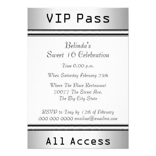 VIP pass Sweet 16 Birthday Party White Invite