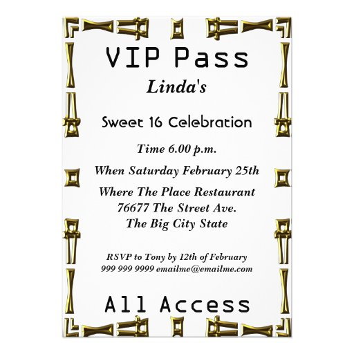 VIP pass Sweet 16 Birthday Party White Invites