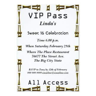 "VIP pass Sweet 16 Birthday Party White 5"" X 7"" Invitation Card"