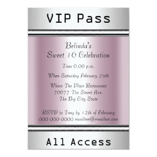 VIP pass Sweet 16 Birthday Party White Pink Announcements