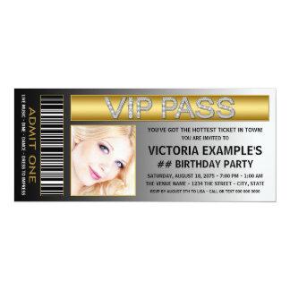 VIP Pass Ticket Birthday Party 10 Cm X 24 Cm Invitation Card