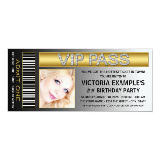 VIP Pass Ticket Birthday Party Card