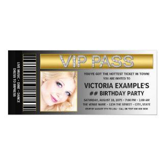 VIP Pass Ticket Style Birthday Party 10 Cm X 24 Cm Invitation Card