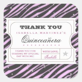 VIP Ticket Zebra Glam Quinceanera Thanks Sticker