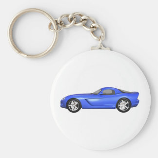 Viper Hard-Top Muscle Car: Blue Finish Basic Round Button Key Ring
