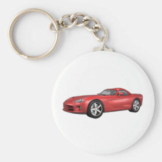 Viper Hard-Top Muscle Car: Red Finish Basic Round Button Key Ring
