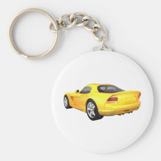 Viper Hard-Top Muscle Car: Yellow Finish: Basic Round Button Key Ring