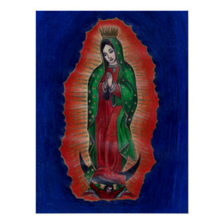 Virgen de Guadalupe Colored Pencil Art Poster
