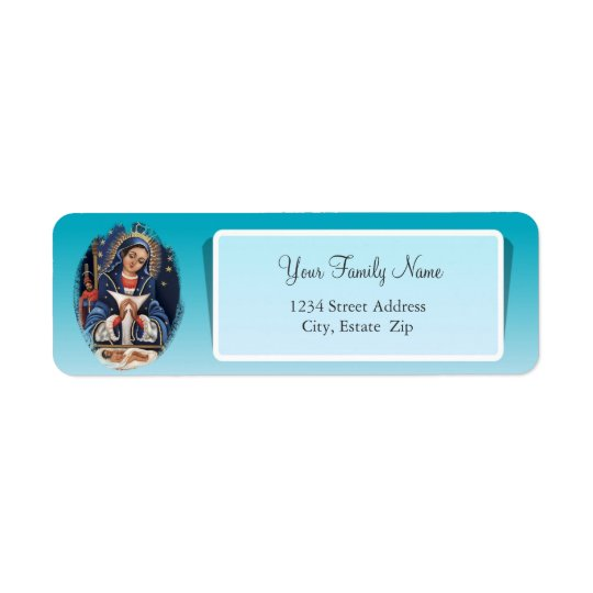 Virgen de la Altagracia Blue Return Address Label