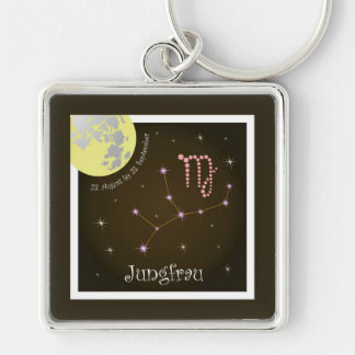 Virgin 23 August to 23. September key supporter Silver-Colored Square Key Ring