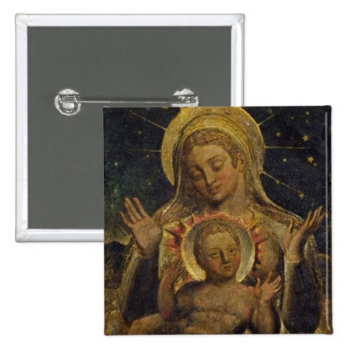 Virgin and Child, 1825 (tempera on panel) Pinback Button