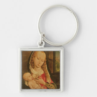 Virgin and Child 2 Silver-Colored Square Key Ring