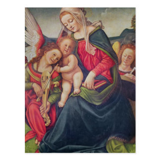 Virgin and Child and angel musicians Postcard