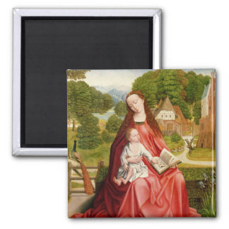 Virgin and Child in a Garden Square Magnet
