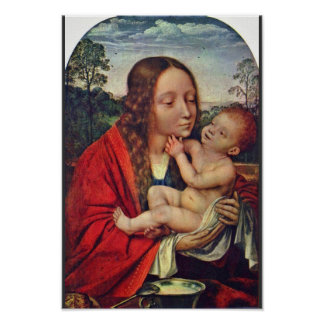 Virgin And Child In A Landscape Poster