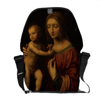 Virgin and Child (oil on panel) 2 Messenger Bags