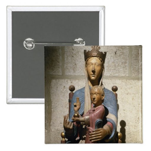 Virgin and Child, (polychrome wood) Pin