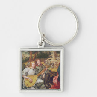 Virgin and Child with Angels Silver-Colored Square Key Ring