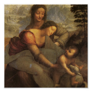 Virgin and Child with St. Anne and Lamb by DaVinci Poster
