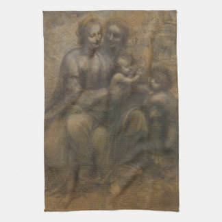Virgin and Child with St Anne by Leonardo da Vinci Tea Towel
