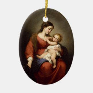 Virgin and Christ Child Ceramic Ornament