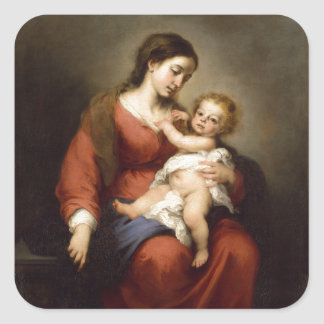 Virgin and Christ Child Square Sticker