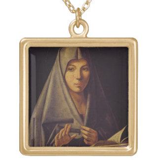 Virgin Annunciate (oil on panel) Custom Necklace