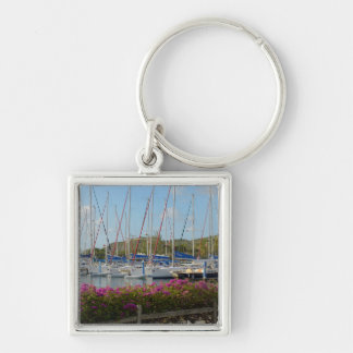 Virgin Gorda Yacht Harbor Silver-Colored Square Key Ring