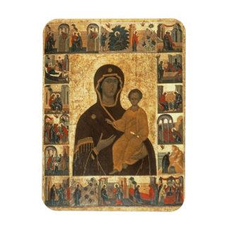 Virgin Hodegetria Icon of Smolensk, c.1450 (temper Rectangular Photo Magnet