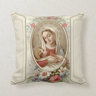 Virgin Madonna Mary with Christ Child Jesus Roses Cushion