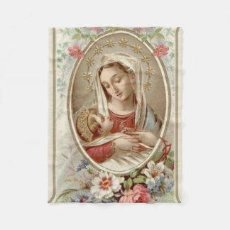 Virgin Madonna Mary with Christ Child Jesus Roses Fleece Blanket