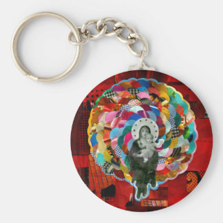 Virgin Maria and the boy Jesus Basic Round Button Key Ring