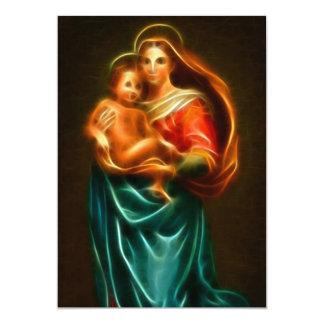 Virgin Mary And Baby Jesus 13 Cm X 18 Cm Invitation Card