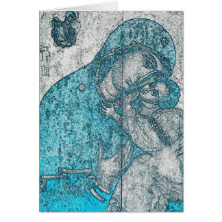 Virgin Mary and Infant Jesus Christ Vintage Blue Card