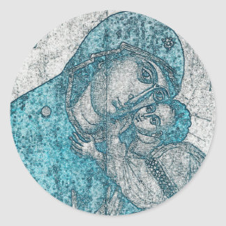 Virgin Mary and Infant Jesus Christ Vintage Blue Classic Round Sticker