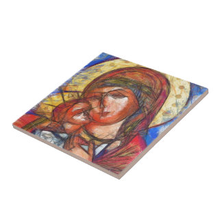 Virgin Mary and Jesus Child Small Square Tile