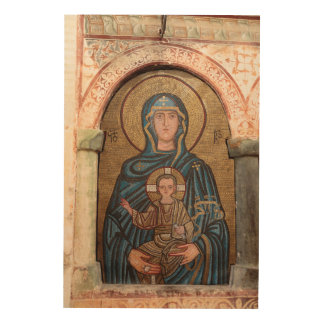 Virgin Mary And Jesus Mosaic Wood Print