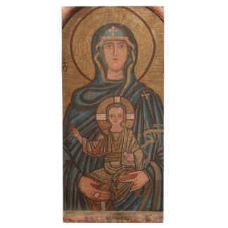 Virgin Mary And Jesus Mosaic Wood USB Flash Drive