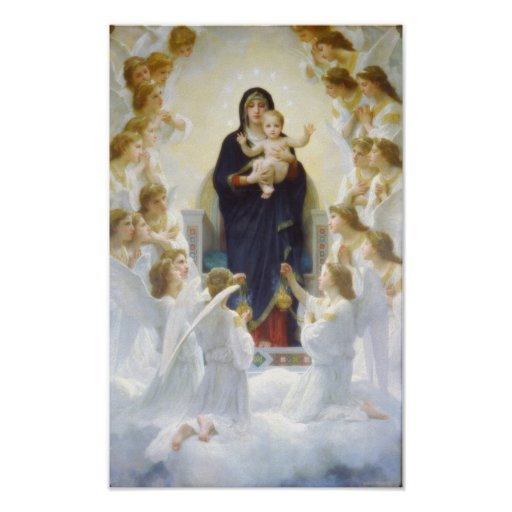 Virgin Mary and Jesus with angels Poster