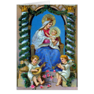 Virgin Mary, Angels and Baby Jesus Christmas Card