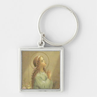 Virgin Mary as a young girl praying Silver-Colored Square Key Ring
