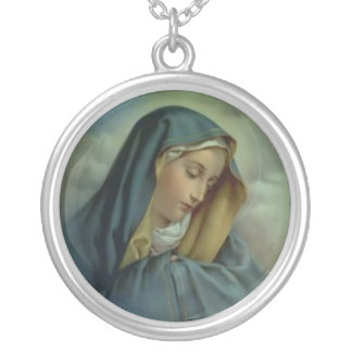 Virgin Mary Assumption Round Pendant Necklace