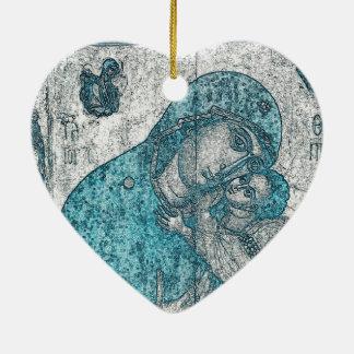 Virgin Mary Baby Jesus Angel Portrait Vintage Blue Ceramic Heart Decoration