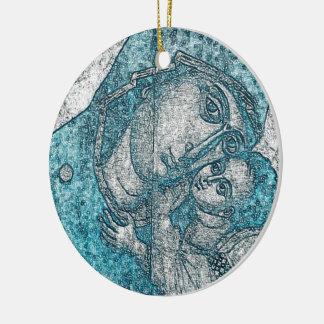 Virgin Mary Baby Jesus Angel Portrait Vintage Blue Ceramic Ornament